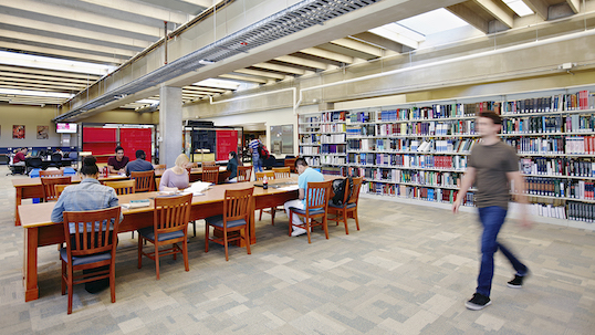 York University student walking through quiet area in library