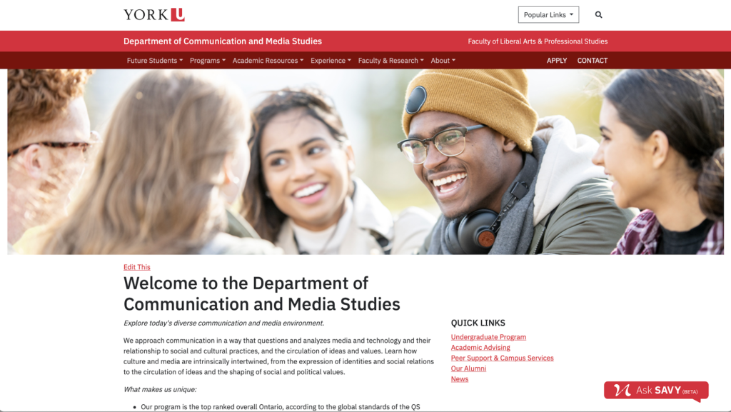 Communication and Media Studies Homepage