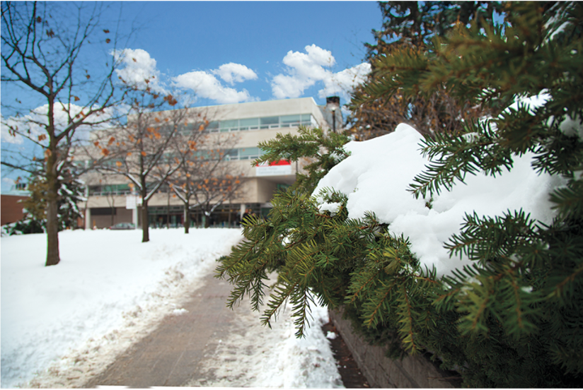 The exterior of the Victor Phillip Dahdaleh Building on the York University campus