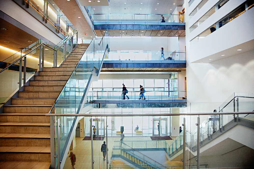 Students walking in the DB building