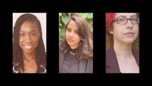 Photos of faculty members Kelly Bergstrom, Desirée de Jesus, and Rianka Singh. Three women posing for the camera.