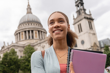 young female student abroad in london, UK