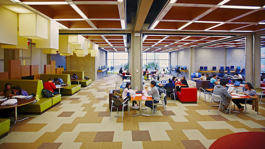 Collaborative space in Scott Library at YorkU Keele Campus