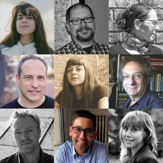 Grid photo with Creative Writing Reading Series panelists. Top row, left to right: Kenzie Allen, Andy Weaver & Concetta Principe. Middle row, left to right: David B. Goldstein, Jennifer Duncan & Allan Weiss. Bottom row, left to right: Michael Helm, Pasha Malla & Suzanne Zelazo