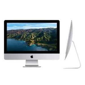 two images of iMac 21.5 inch desktop showing the front and the side view