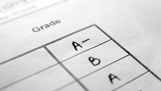 A final column in a chart on a printed paper titled grades. A-, B, and A have been written in the rows.