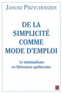De la simplicité comme mode d'emploi journal cover