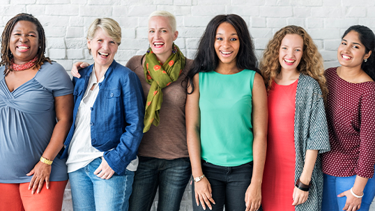 diverse group of young and older women