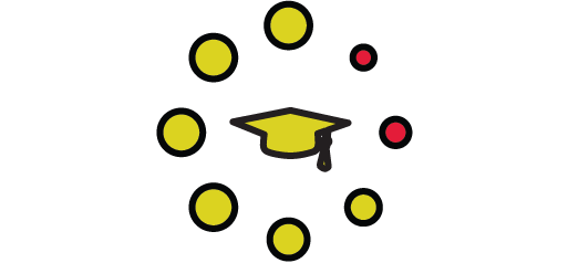 grad cap with dot indicators icon
