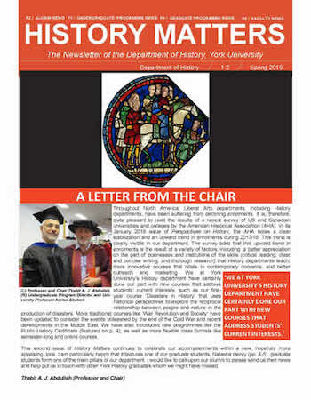 History Matters Newsletter front page (Winter 2019)