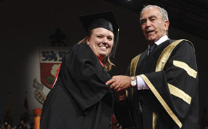 LA&PS student shakes hands with York Chancellor during convocation ceremony