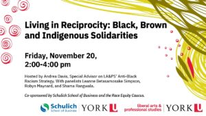 Living in Reciprocity: Black, Brown and Indigenous Solidarities, webinar at 2:00pm ET on November 20, 2020