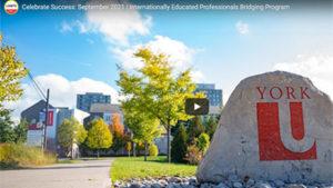 stone with York university logo at the entrance of keele campus