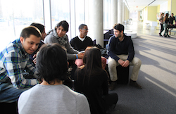 Students in lounge on York campus