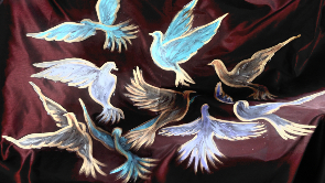 """""""Wings of Desire"""" on silk paneling by Dr. Nergis Canefe"""