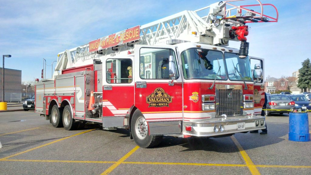 Photo of a Vaughan fire truck in a parking lot