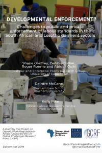 Developmental Enforcement? Challenges to public and private enforcement of labour standards in the South African and Lesotho garment sectors cover