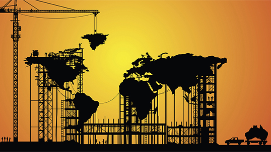 illustration of world map being held up by construction scaffolding