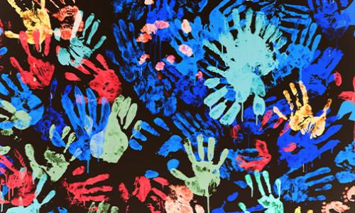 vibrant coloured hand paint prints