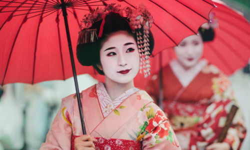 east asian women in traditional japanese attire