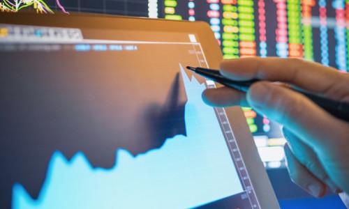stock market graph on computer screen