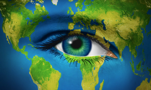 illustration of a blue-green eye in a blue-green map of the world