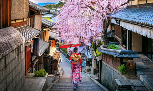 woman in traditional japanese attire walking down narrow, cute traditional street