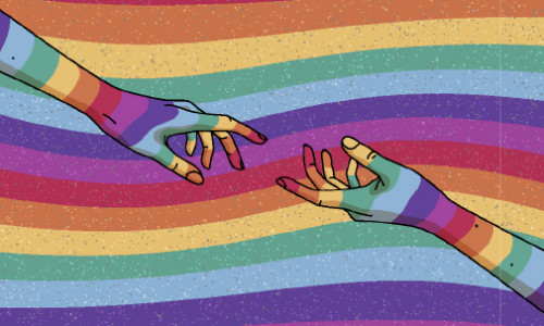 illustration of two hands reaching for each other and pride colours in the background