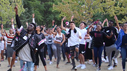 Vanier College students dancing at orientation