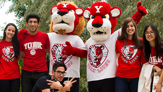 LA&PS student success team poses with YorkU Lions mascots on campus