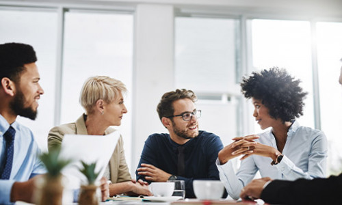 diverse young professionals in a meeting