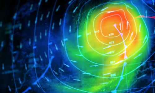 monitoring hurricane modelling on computer screen