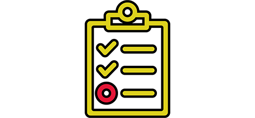 yellow clipboard graphic with checkmarks