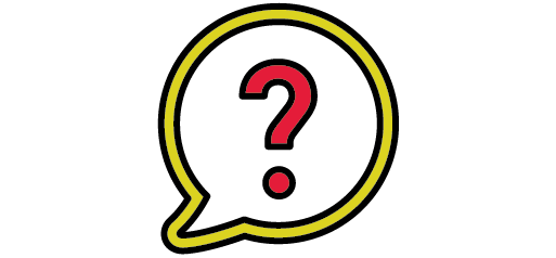 red question mark in yellow speech bubble