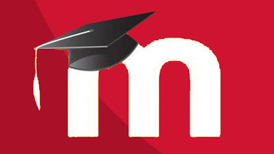 White letter M accented with graduation cap over red background