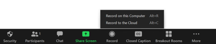 Zoom program interface with record menu open
