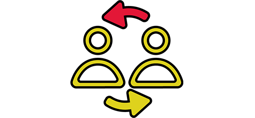 people infographic with arrows