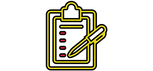 yellow clipboard icon with pen and paper displaying bullet list