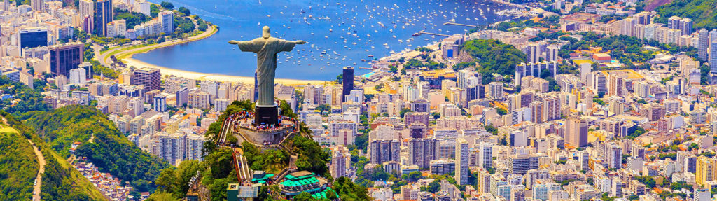 Aerial view of Christ the Redeemer statue overlooking Rio de Janeiro in Brazil