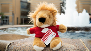 York Lions Teddy Bear holds a York University bookstore gift card, while seated on the fountain pond outside Vari Hall on Keele Campus.