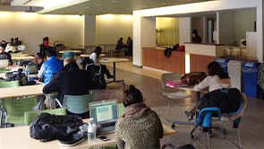 Vanier College Study space with students working quietly at their desks.