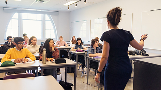professor lecturing to students in tutorial