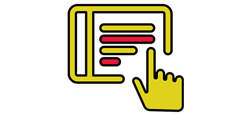 icon of tablet device and hand pointing