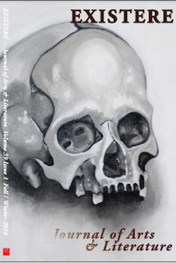 Illustration of human skull on Existere journal cover page