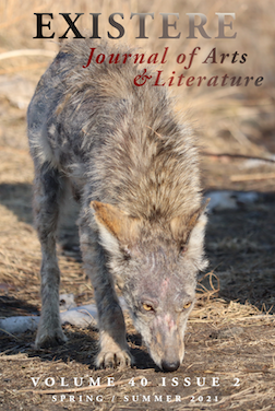 Coyote travels through cold environment on Existere journal cover page