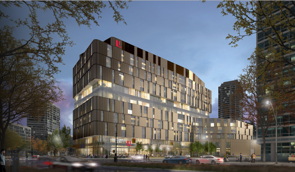 rendering of the new amakrham building at night