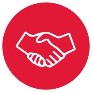 outline of a handshake on a red background