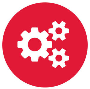 gears turning on red background