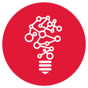 abstract drawing of a lightbulb on red background