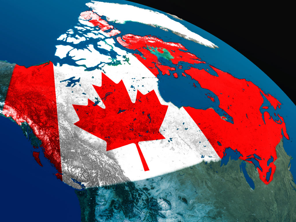 space view of Canada with Canadian flag overlayed on top